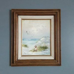 Original oil painting by H. Gibson Ocean Landscape